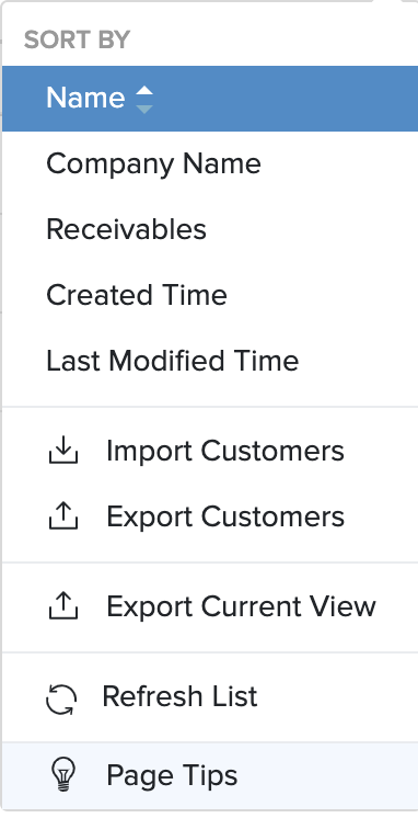 screen shot of a sample menu - export drop down