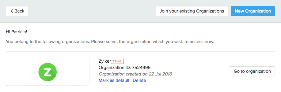 Mark default org