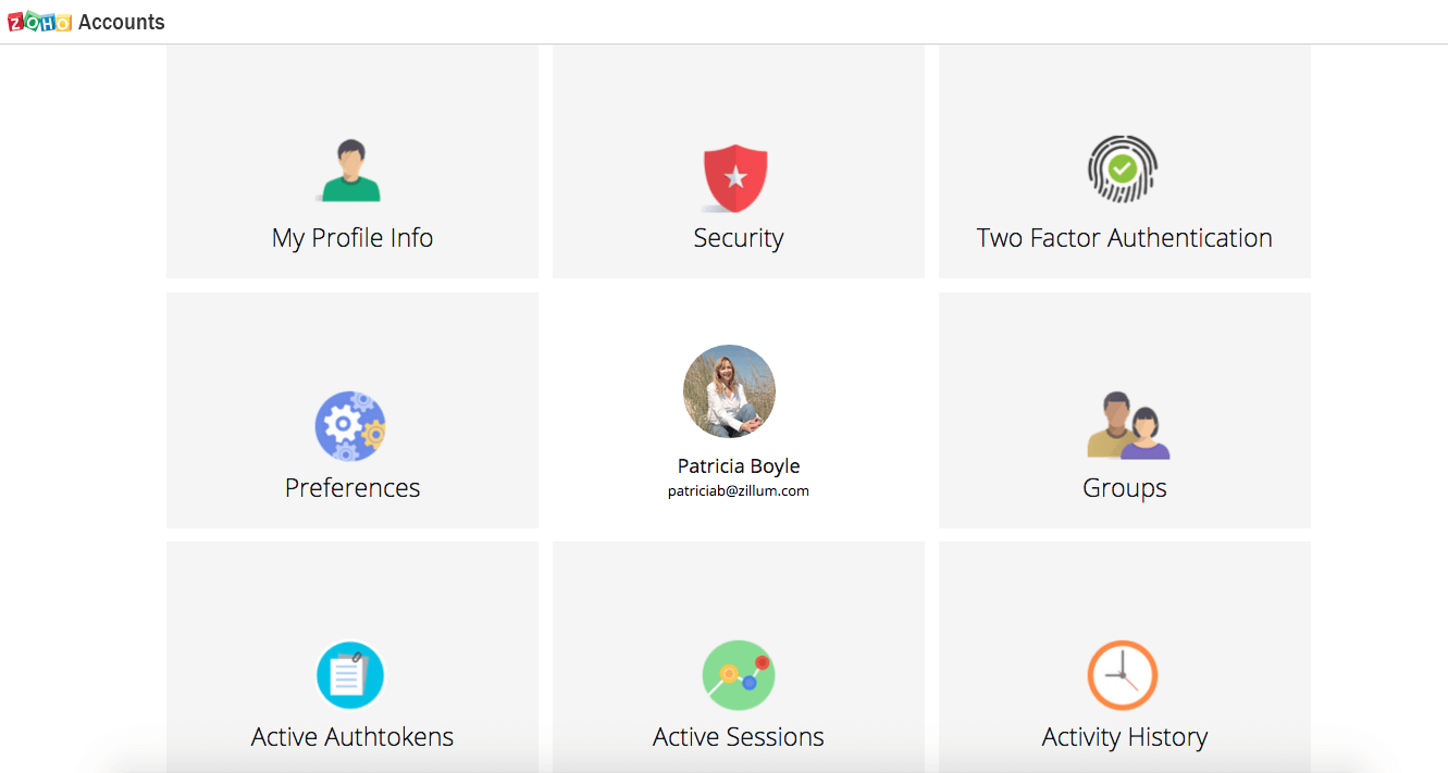 Zoho Account Page