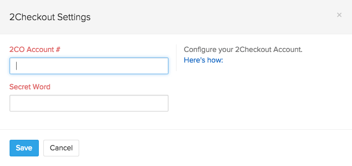 Screen shot of 2checkout setup page