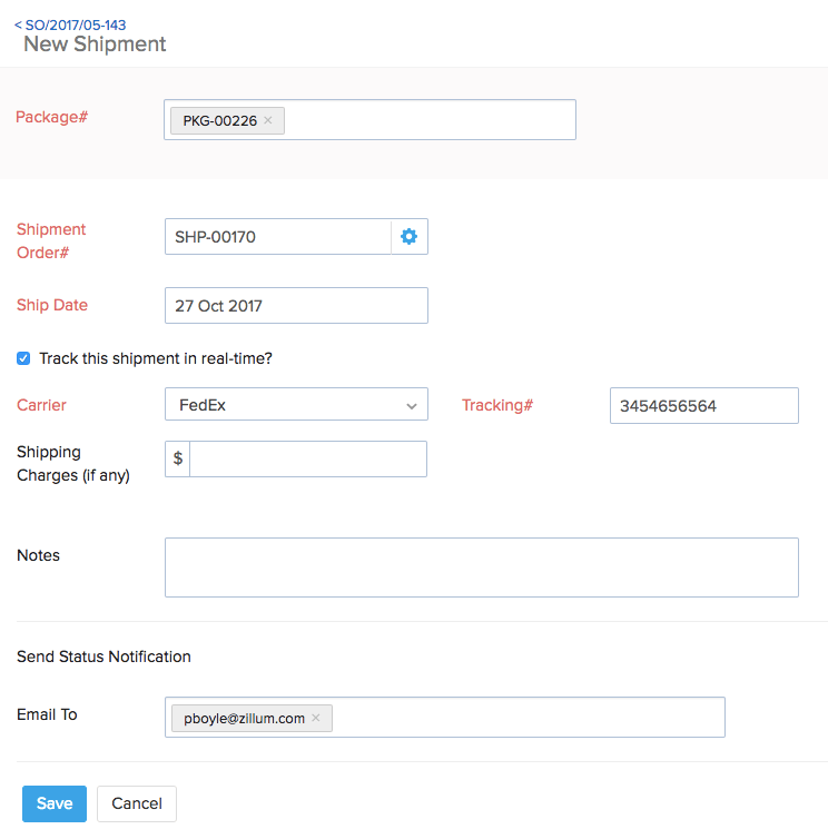 Option to enable tracking for a manual shipment