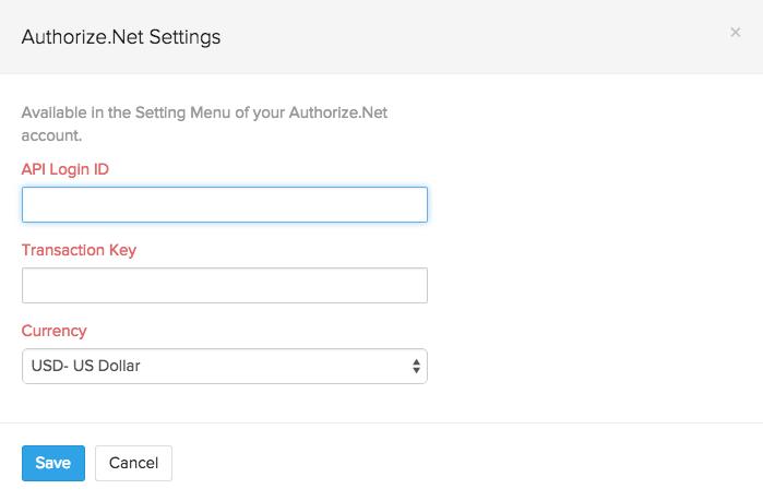 Screen shot of Authorize.Net setup page
