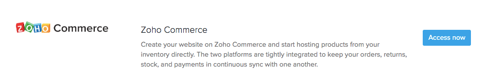 Zoho Commerce Access Now