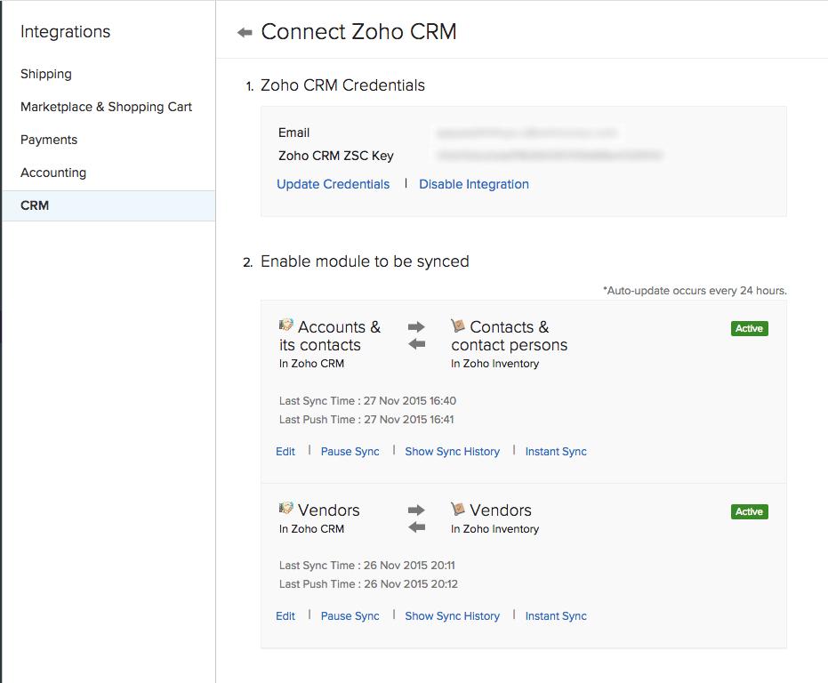CRM details page