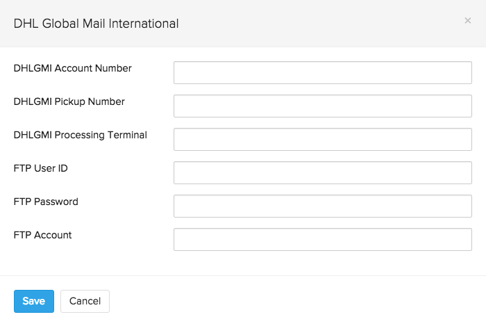 dhl global mail international set up page