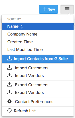 Import Contacts G Suite Menu