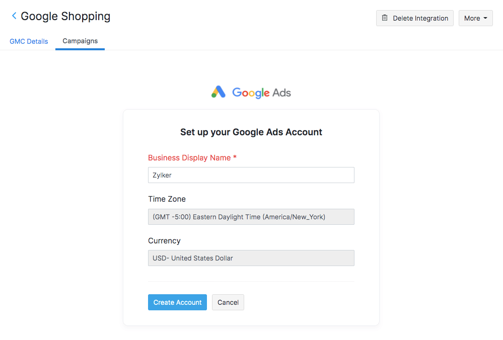 Set up Google Ads Account