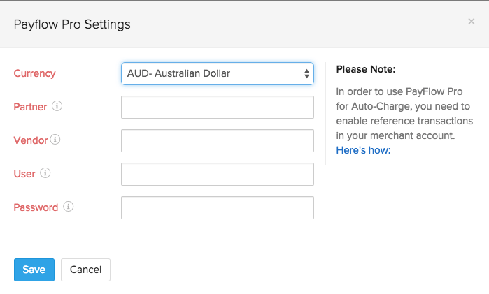 Screen shot of Payflow Pro setup page