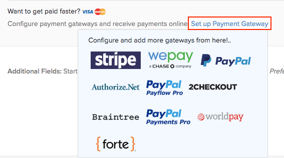 Integrating with payment gateways from invoices