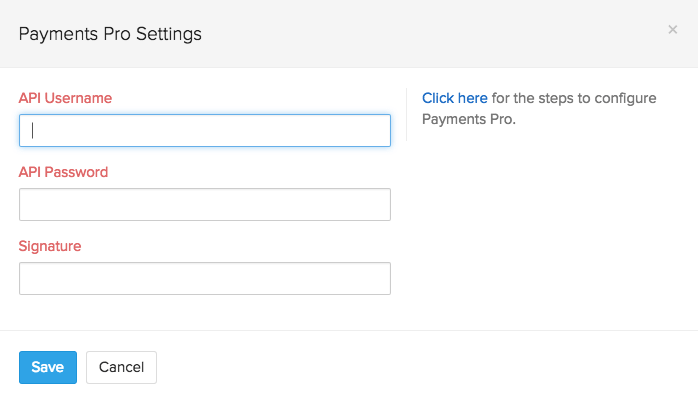 Screen shot of Paypal Payments Pro setup page