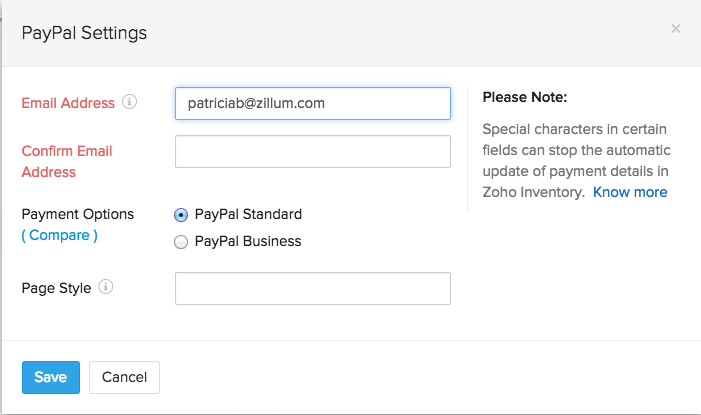 screen shot of paypal setup page
