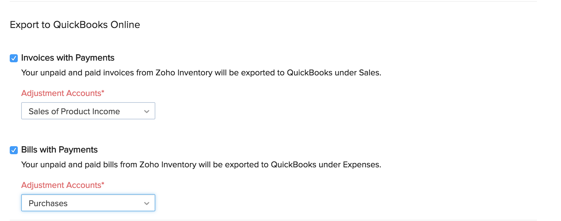 QuickBooks Online Integration:: User Guide | Zoho Inventory