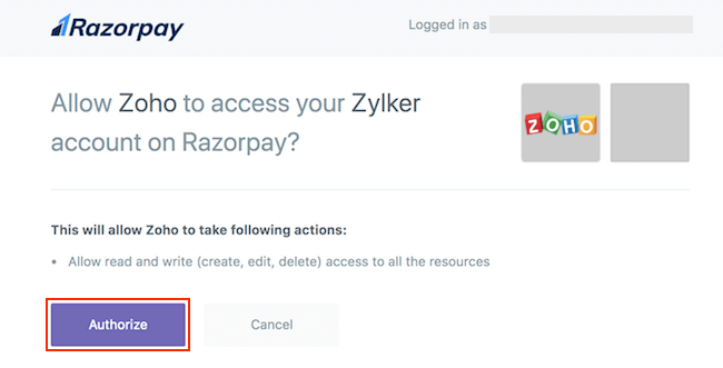 Authorize Zoho Inventory integration with Razorpay