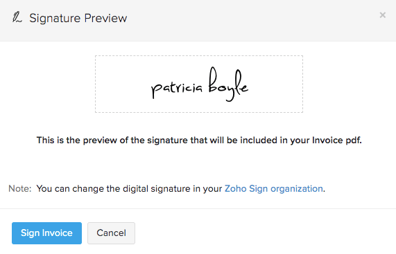 Zoho Sign - Signature preview