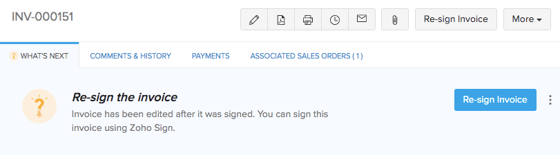 Zoho Sign - Re-sign Invoice