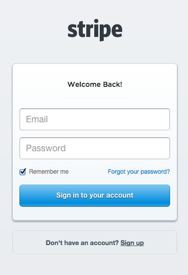 Sign in to your stripe account