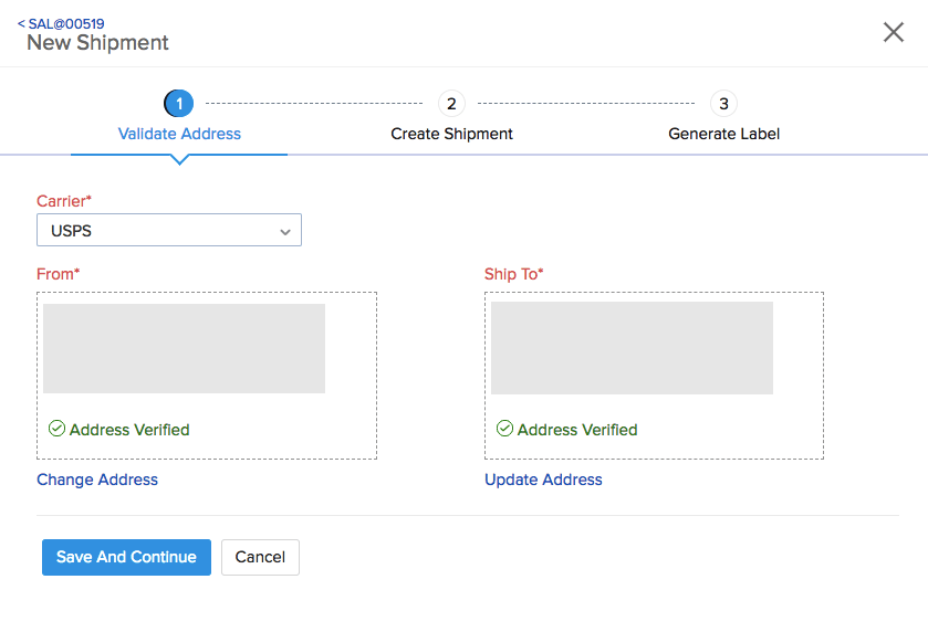 USPS Integration page in Zoho Inventory