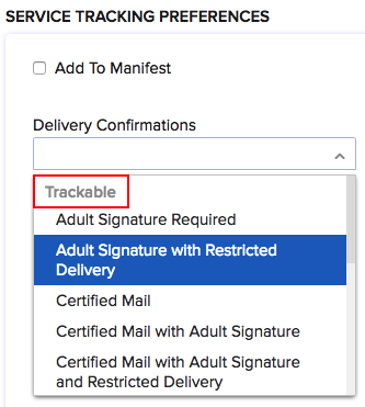 Service Tracking Preferences in USPS