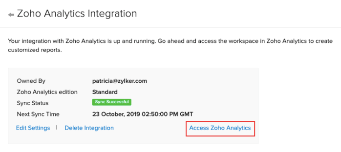 Access Zoho Analytics