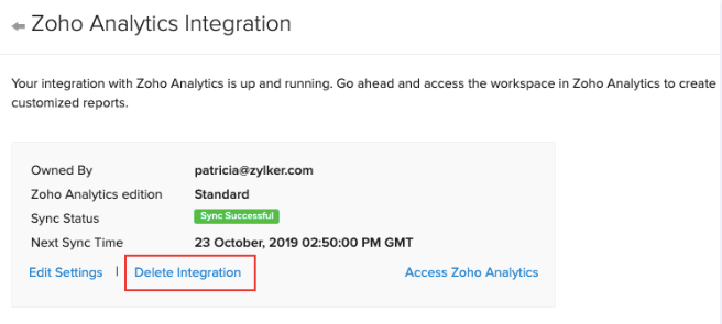 Delete Zoho Analytics integration