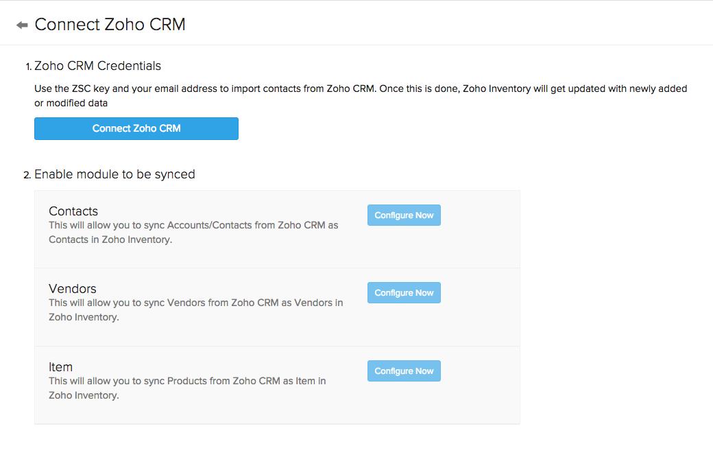CRM configuration page