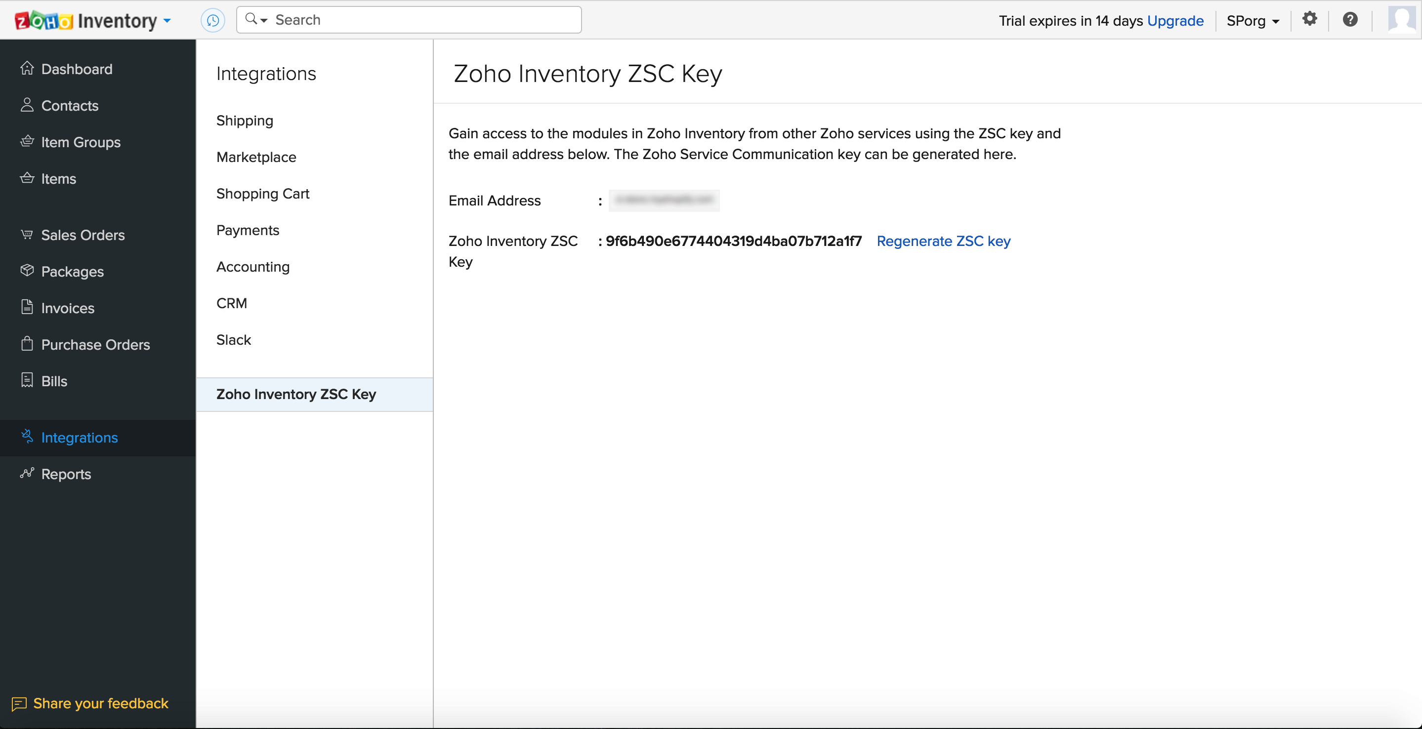 Regenerate ZSC key