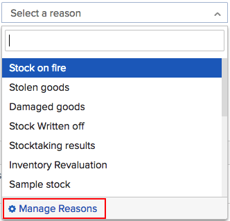 Manage reasons menu