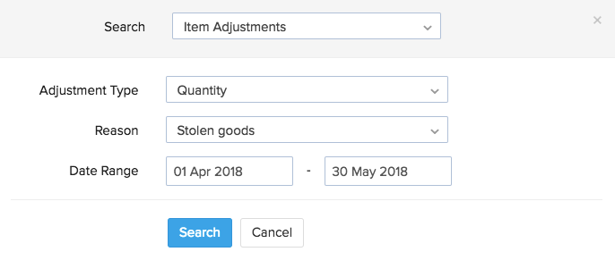 Filters in Advance Search for Item Adjustments