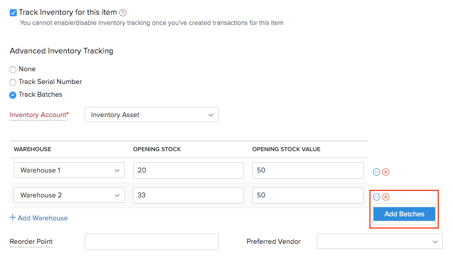 Add batch numbers to the opening stock of an item