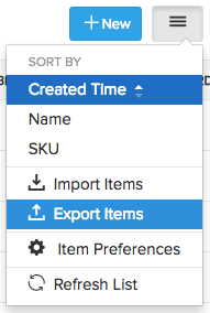 Selecting the export option
