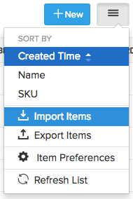 Selecting the import option