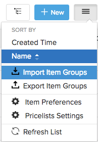 screen shot of the menu icon and drop down highlighting import variants option