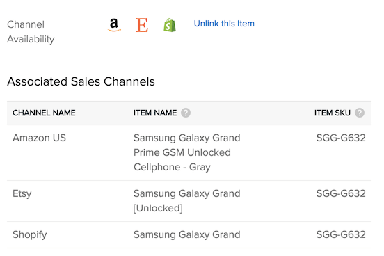 Sales channel item name and SKU