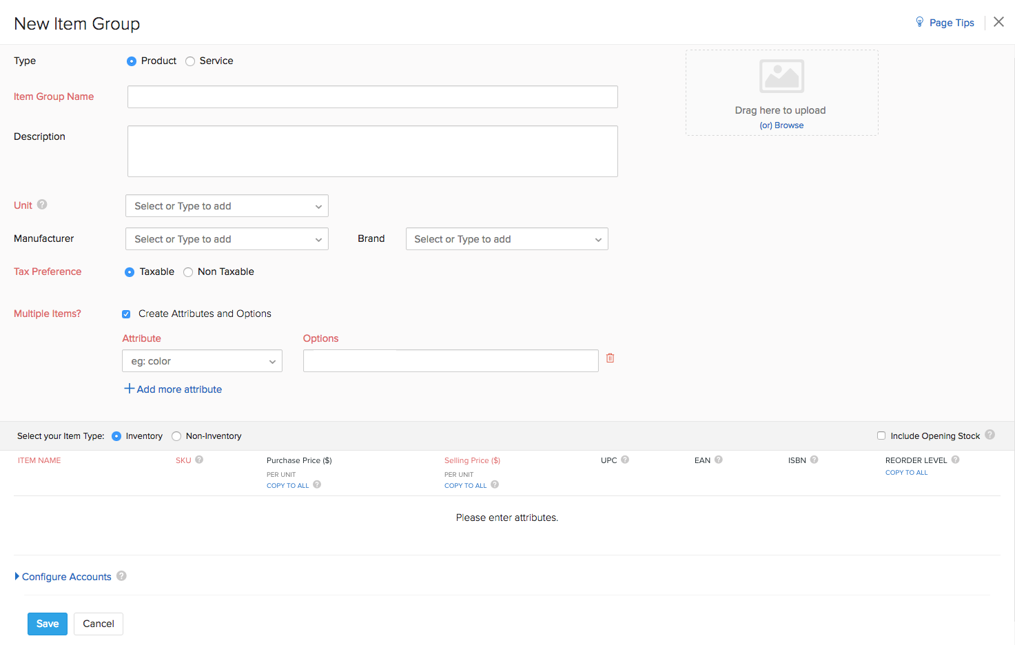 Creation of Items & Item Groups in Zoho Inventory