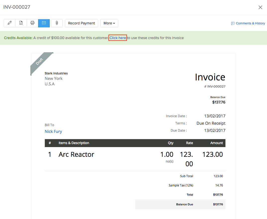 Apply credits option in Invoice