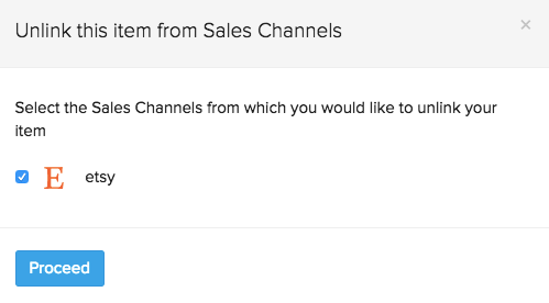 Pop-up with sales channels to unlink from