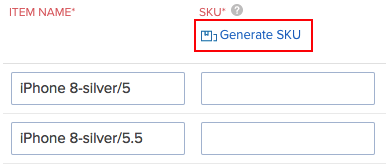 Generating SKU for item groups
