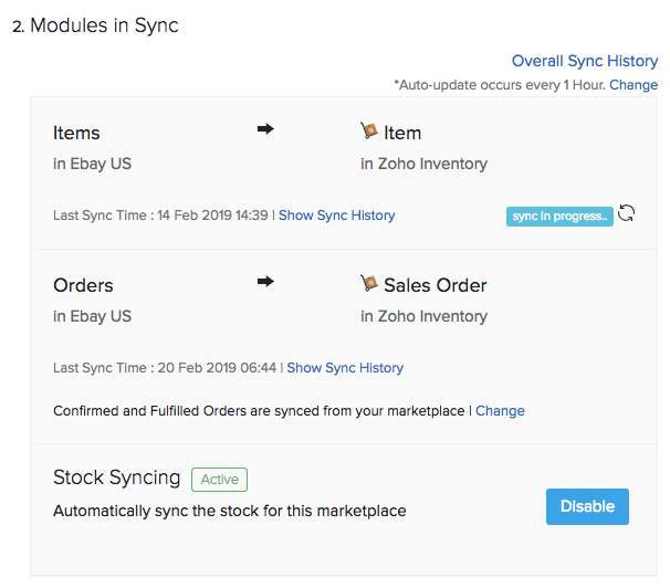 Fulfilled order sync option in eBay