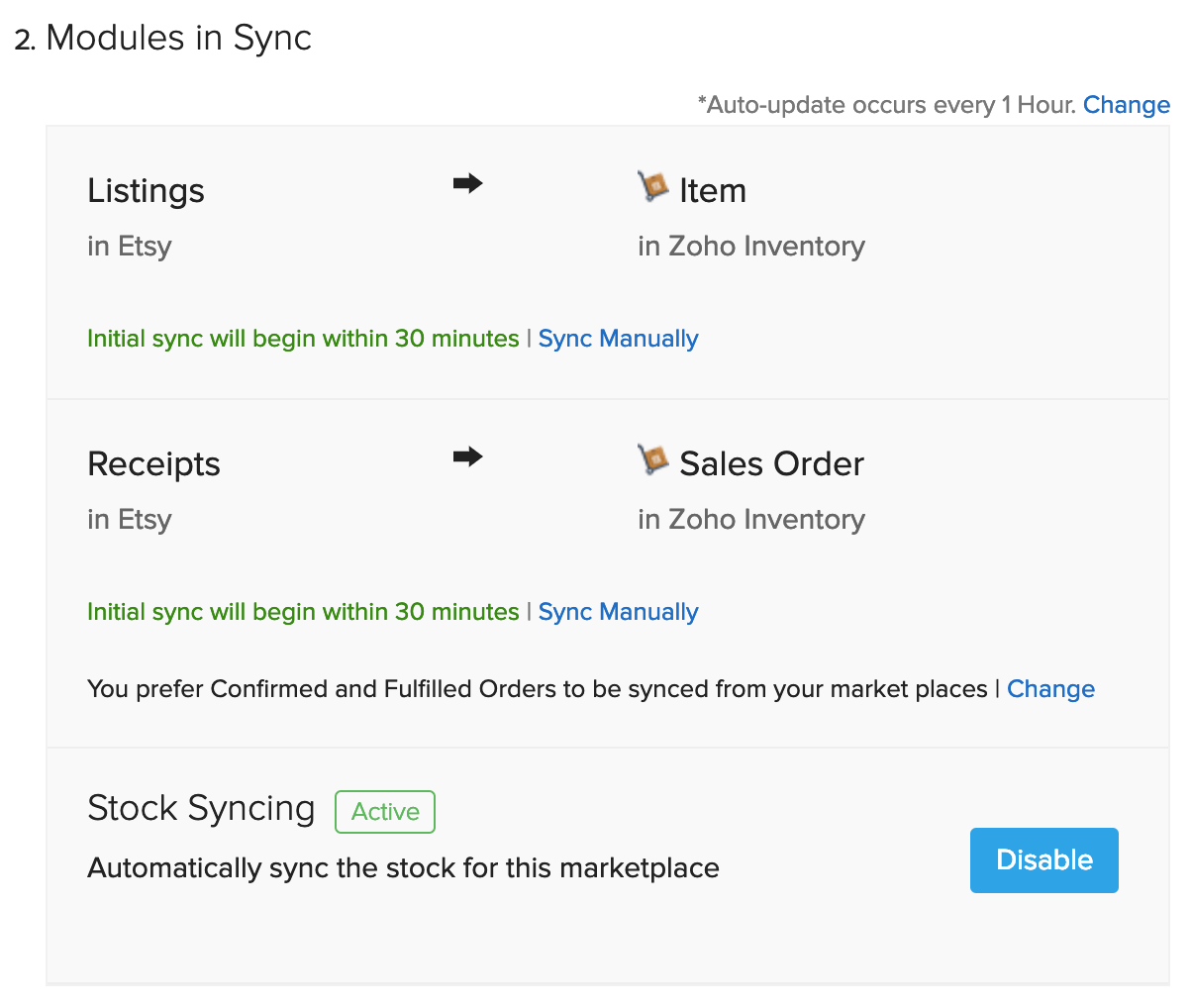 Fulfilled order sync option in Etsy