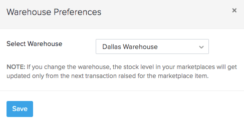 Marketplace warehouse mapping