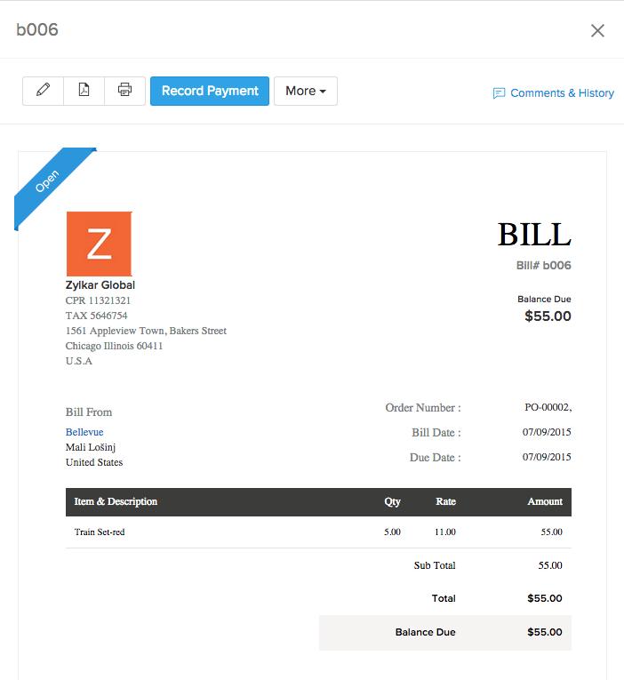 screen shot of a successful bill