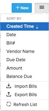 screen shot of the menu drop down