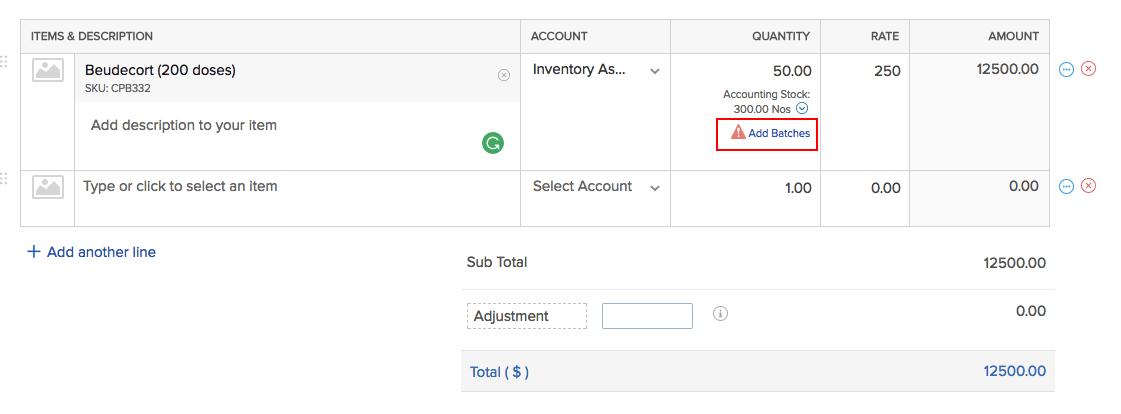 Add batches option in bills