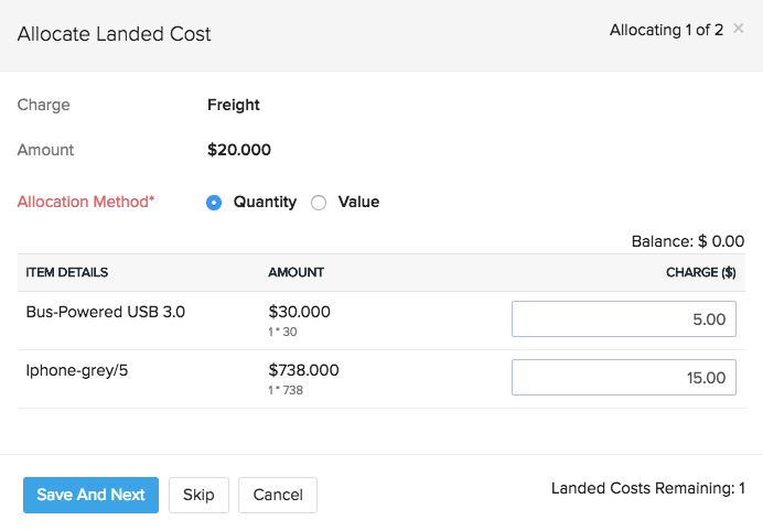 Allocating landed costs to items in a bill in Zoho Inventory