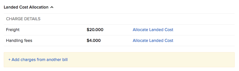 Allocate landed cost on bill
