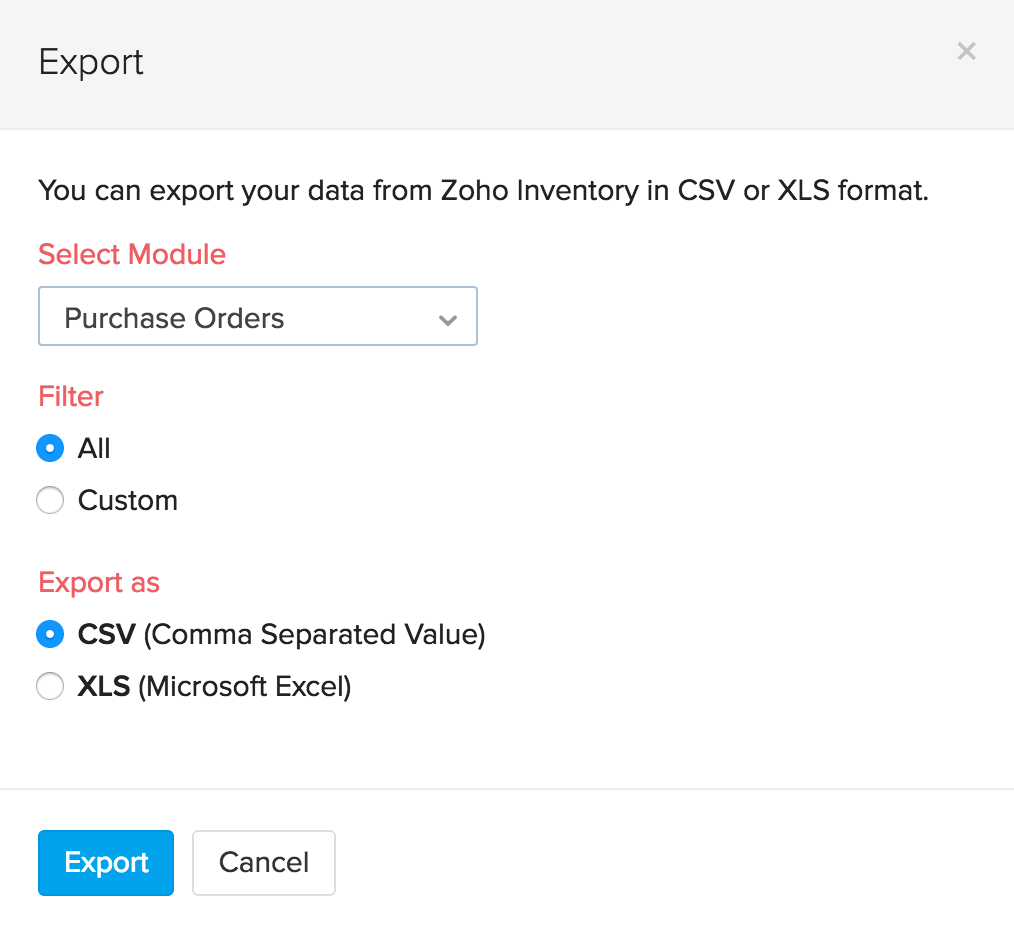 screen shot of the export page
