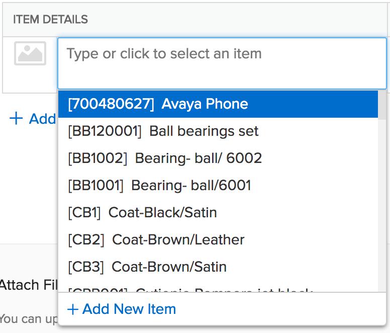 screen shot of items drop down