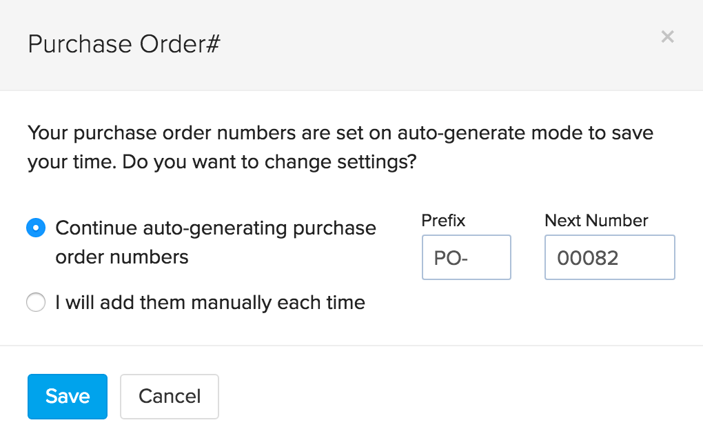 Purchase order number settings pop up