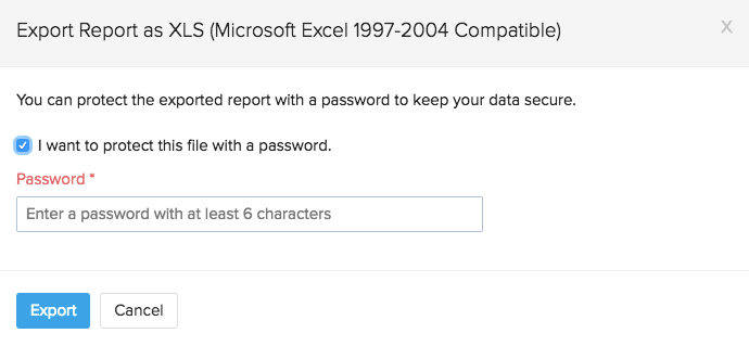 Exporting reports with password protection