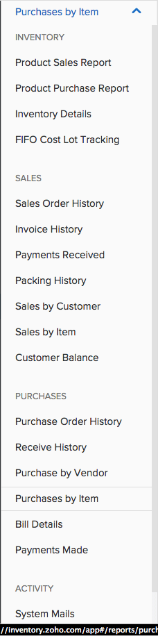 Sample Image of choosing a purchase report from another report